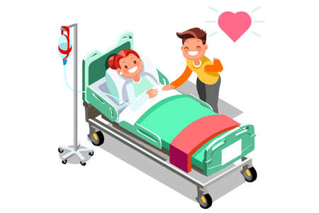 Breast cancer hospital patient bed hospitalization concept. A sick person is in a medical bed on a drip. Vector illustration in a flat style