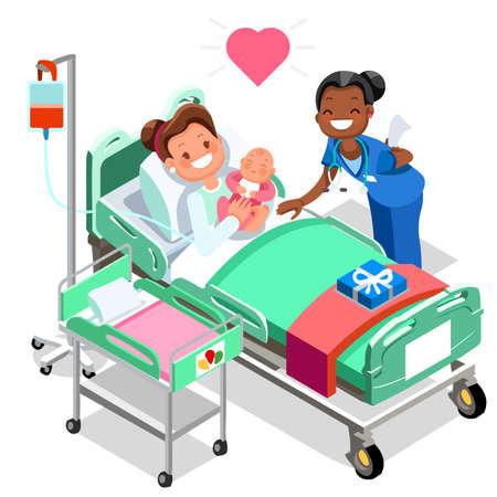 Verpleegster met baby arts of verpleegsterpatiëntenzorg 3D vlakke isometrische mensenemoties in isometrische medische het pictogram vectorillustratie van de beeldverhaalstijl. Vector Illustratie