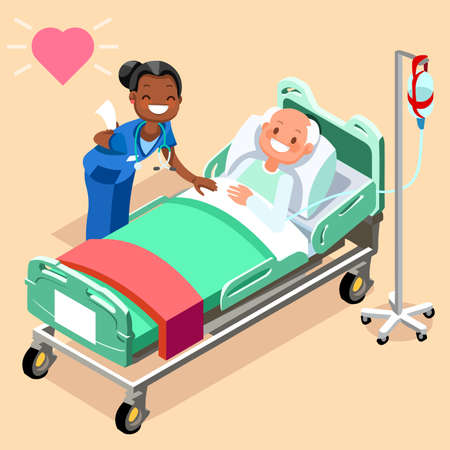 Black nurse or family doctor at male patient bed 3D flat people emotions in isometric cartoon style medical icon vector illustration.