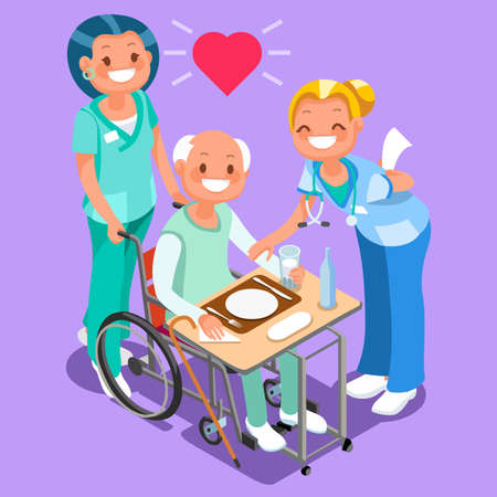 Nurses or group of doctors team with elderly patient 3d flat isometric people smiling in isometric cartoon style vector illustration.