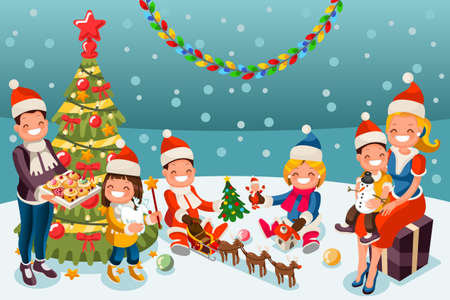 Winter kids at christmas party night. Family holiday set. Parents and children opening toghetheer chritmas gifts. Vector illustration in a flat style 向量圖像