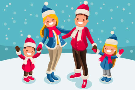 Merry Christmas 2018 and New Year whishes. Kids holiday family set. Parents and children smiling under snowfall in snow landscape. Flat vector illustration
