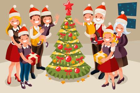 Winter familie Kerstboom en kind.
