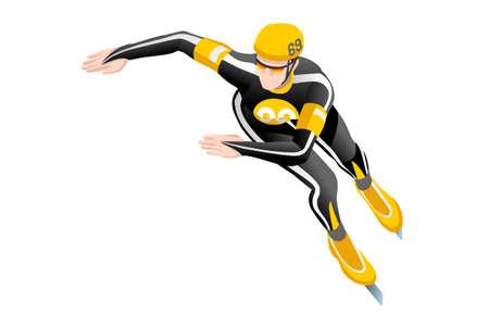Short track speed skaring race skater athlete winter sport man vector 3D isometric icon. Illustration