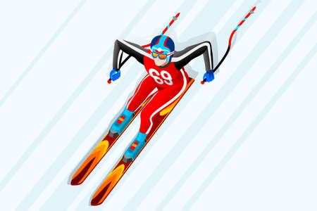 스키 내리막 거 대 한 대회 겨울 스포츠 남자 벡터 3D 아이소 메트릭 아이콘입니다. 일러스트