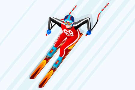 Skiën bergaf reuzenslalom atleet winter sport man vector 3D isometrische pictogram.