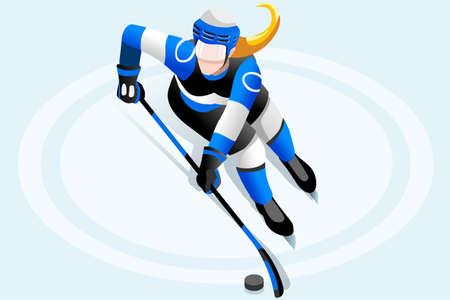 아이스 하 키 선수 선수 겨울 스포츠 여자 벡터 3D 아이소 메트릭 아이콘입니다. 일러스트