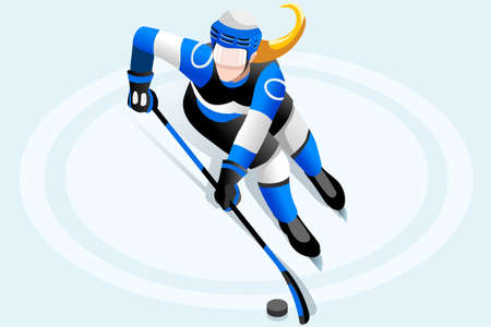Ice hockey player athlete winter sports woman vector 3D isometric icon.
