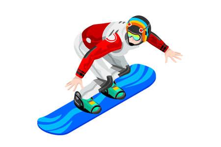 Snowboard jump race snowboarder athlete winter sport man vector 3D isometric icon. Illustration