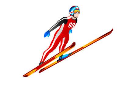 Ski jumping athlete winter sport man vector 3D isometric icon. Çizim