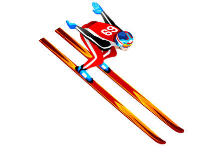 Ski jumping athlete winter sport man vector 3D isometric icon. Ilustração