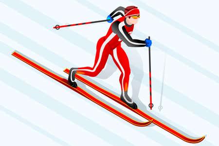 크로스 컨트리 스키 선수 겨울 스포츠 남자 벡터 3D 아이소 메트릭 아이콘입니다. 일러스트