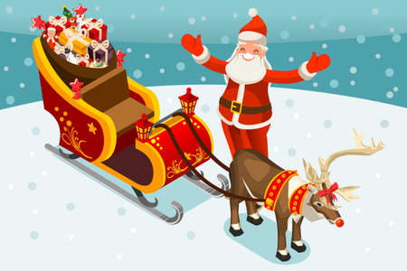 Santa Claus sleigh. Santa Claus and Rudolph reindeer delivering children toys or gifts. Merry Christmas 2018 and New Year. Vector illustration in flat style