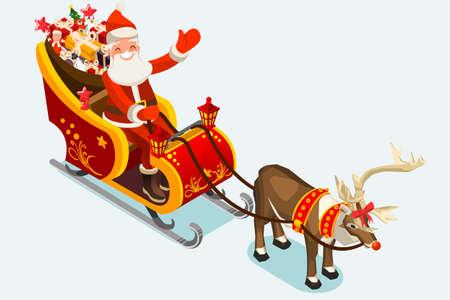 サンタのそり。サンタとルドルフ トナカイおもちゃやギフト、子供を提供します。2018 メリー クリスマスと新年。フラット スタイルのベクトル図