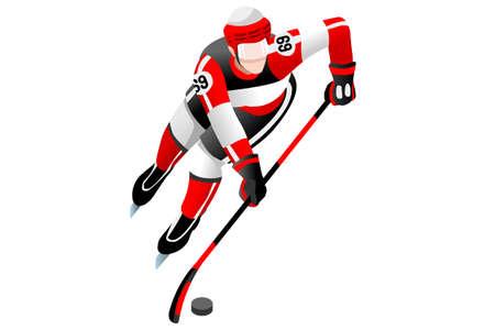 Ice hockey player athlete winter sports man vector 3D isometric icon. Illustration