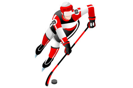 Ice hockey player athlete winter sports man vector 3D isometric icon. Illustration