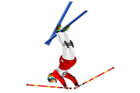 Skieur acrobatique saut athlète hiver sport homme vecteur icône isométrique 3D. Banque d'images - 87210654