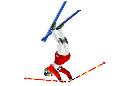 Freestyle skier jump athlete winter sport man vector 3D isometric icon.