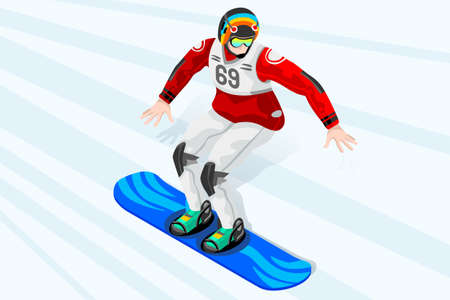 Snowboard jump race snowboarder athlete winter sport man vector 3D isometric icon. Ilustracja