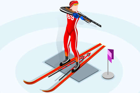 Biathlon ski race skier athlete winter sport man vector 3D isometric icon.