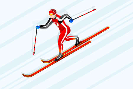 crosscountry: Cross-country skiing athlete winter sport man vector 3D isometric icon.
