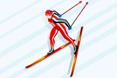 クロスカントリー スキー選手冬スポーツ男ベクトル 3次元等尺性のアイコン。