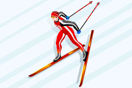 Cross-country skiing athlete winter sport man vector 3D isometric icon.