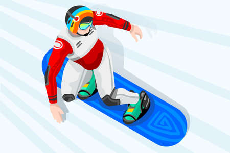 Snowboard jump race snowboarder athlete winter sport man vector 3D isometric icon. Illustration
