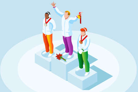 Winner podium with winter sport man athlete. Vector 3D isometric icon. Illustration