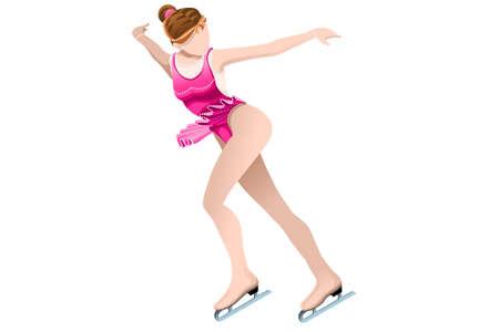 Patinoire de patinage avec patineur athlète sport d'hiver femme Dame vecteur icône isométrique 3D.