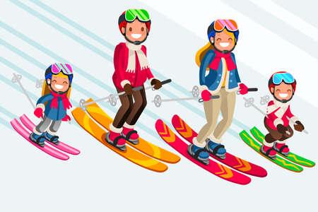 Familie als sneeuwskiërs. Wintersport op kindervakanties. Ouders en kinderen skiërs genieten van sneeuwlandschap. Vectorillustratie in een vlakke stijl