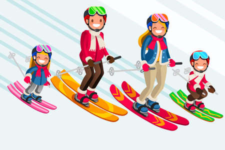 Family as snow skiing people. Winter sports at kids holidays. Parents and children skiers enjoying snow landscape. Vector illustration in a flat style