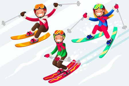 Esquís en la gente de esquí de nieve. Deportes de invierno en vacaciones para niños. Esquiadores de padres y niños disfrutando del paisaje de nieve. Ilustración de vector en un estilo plano