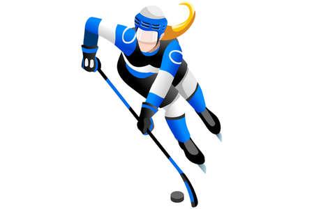 Ice hockey player athlete winter sports woman vector 3D isometric icon. Reklamní fotografie - 87210674