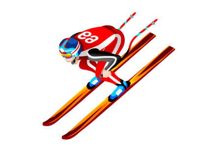 Ski bergafwaarts atleet winter sport man vector 3D isometrische pictogram. Stock Illustratie
