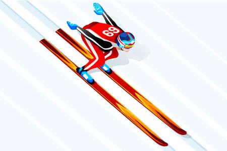 Ski jumping athlete winter sport man vector 3D isometric nordic combine icon.