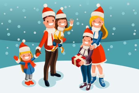 Winter family in snow night. Kids holiday family set. Parents and children smiling under snowfall in snow landscape. Vector illustration in a flat style Ilustracja