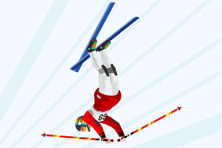 Freestyle jump skier athlete winter sport man vector 3D isometric icon. Illustration