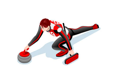 Curling match curler athlete 겨울 스포츠 남자 벡터 3D 아이소 메트릭 아이콘입니다. 일러스트