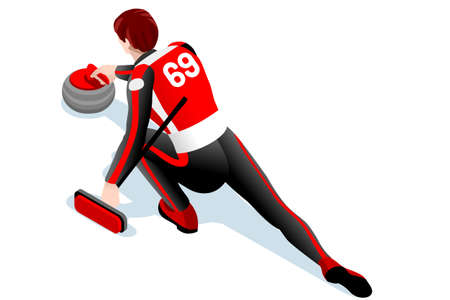 Curling match curler athlete winter sport man vector 3D isometric icon.