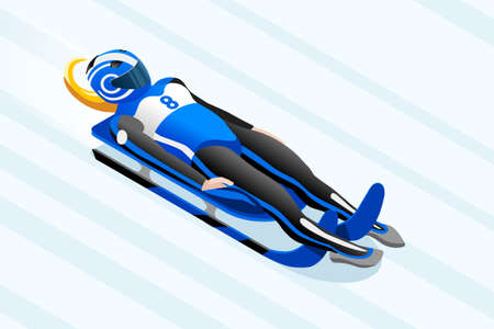 Luge sled race athlete winter sport woman vector 3D isometric icon.