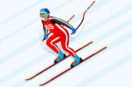 Skiing downhill super G athlete winter sport man vector 3D isometric icon.
