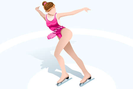 Figure skating rink with skater athlete winter sport woman lady vector 3D isometric icon.