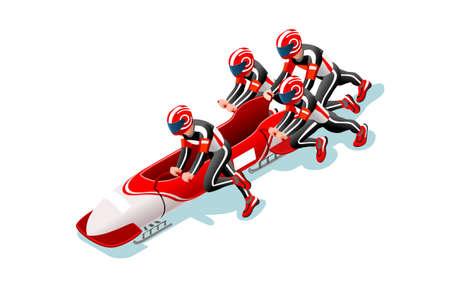 Athlète de course de traîneau de Bobsleigh homme d'hiver sport homme icône isométrique 3D. Vecteurs