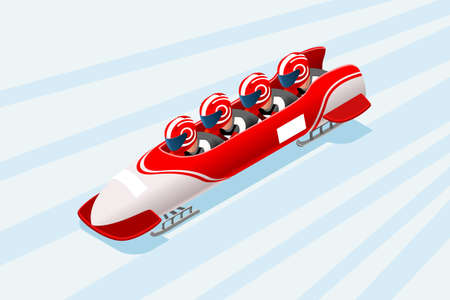 Bobsleigh sled race athlete winter sport man vector 3D isometric icon.