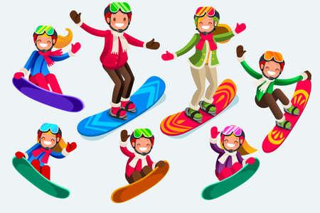 Skiing in snow landscape illustration.