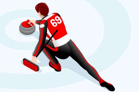 Curling wedstrijd curler atleet winter sport icoon. Stock Illustratie