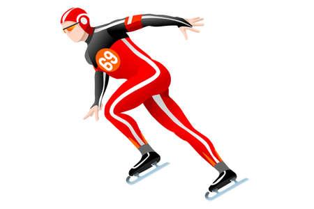 Patinage de vitesse course patineur athlète hiver sport homme icône. Banque d'images - 87210712