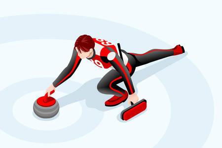 Curling match curler athlete winter sport man icon.