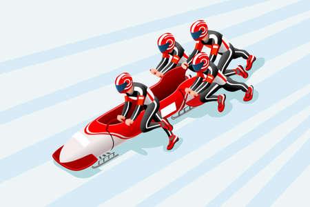 Bobsleeën slee ras atleet winter sport man pictogram. Stock Illustratie
